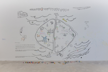 Gapado´s treasure map en la sala de exhibiciones