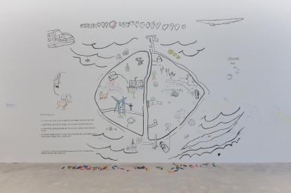 Gapado´s treasure map en la sala de exhibiciones
